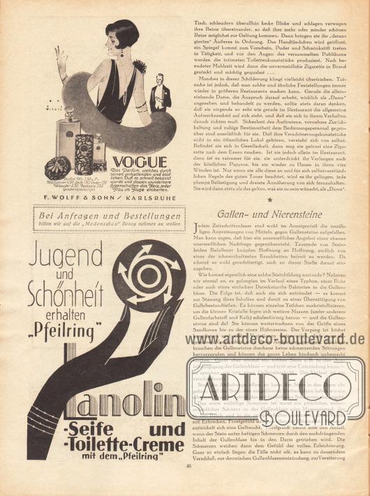 """Artikel: Ronald, Robert, Die Dame im Restaurant; Moritz, Georg, Gallen- und Nierensteine. Werbung: Vogue, Parfüm, F. Wolff & Sohn, Karlsruhe. Zeichnung: Jupp Wiertz (1888-1939); Lanolin, Seife und Toiletten-Creme mit dem """"Pfeilring""""."""