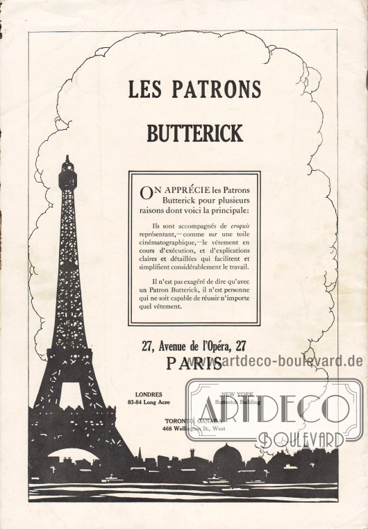 Rückseite mit der Werbung für die eigenen Butterick Schnittmuster die über die französische Niederlassung 27, Avenue de l'Opéra, 27, Paris erhältlich sind.