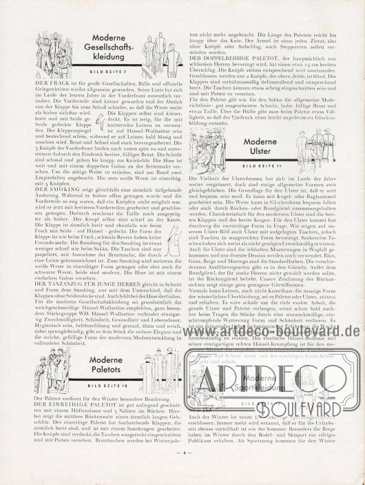 Artikel: Henschke, Bruno (Geschäftsführer), Modisches für Herbst und Winter 1931/32. Den Hänsel-Freunden für ihre Praxis.