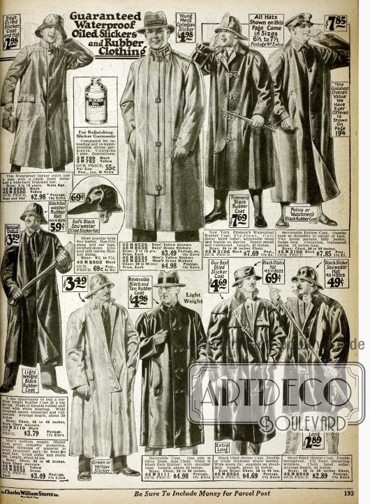 Regenmäntel mit passenden Hüten für Männer in verschiedenen Qualitäten aus Gummi und gummierten Stoffen.