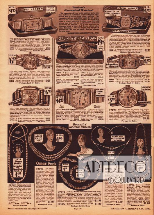 Armbanduhren für Damen (oben), für Herren und junge Männer (Mitte) mit verchromten, vergoldeten oder platinierten Uhrenarmbändern und Gehäusen. Die Metallteile zeigen umfangreiche Ornamente und Motive. Im unteren Seitenbereich befinden sich schmuckvolle Halsketten und ein Armband für Damen. Der Modeschmuck ist aus Kunstperlen (Marke: Omar Pearls) und imitierten, künstlichen Edelsteinen.