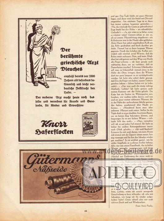 Artikel:Paula, Anna, Liebe Freundin! Ich rate Ihnen… .Werbung:Knorr Haferflocken&#x3B;Gütermanns Nähseide.