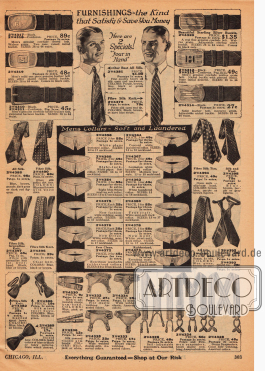 Accessoires für den Mann. Seite mit Krawatten, Fliegen, Strumpfbandhaltern, Hosenträgern, Ledergürteln mit Schnalle und abnehmbaren Waschkragen für Hemden.