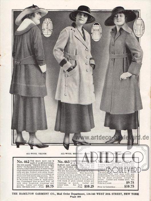 """Damenmäntel der unteren mittleren Preiskategorie aus Woll-Velours und Bedford Cord (Wollgewebe). Der dritte Mantel kann wahlweise in der Variante aus """"covert cloth"""" (leichtes, aber dicht gewebtes Wollgewebe) oder Gabardine bestellt werden. Das erste Modell ist ein sportlicher Kurzmantel mit einem rund geformten Kragen mit einem Besatzstoff aus weißem Breitgewebe. Zurückhaltende Stickerei dient als Garnierung. Der nachfolgende Kordmantel zeigt an Kragen und Unterärmeln Besatz aus schwarzem Seiden-Samt. Einen besonders feschen Schnitt zeigt das letzte Modell, das einen wandelbaren Kragen besitzt."""