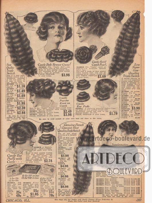 """""""Natürlich gelockte"""" Echthaarteile: Strähnen, Locken und Haarknoten zum einfachen Einarbeiten in die eigene Frisur. Verschiedene Haarlängen und Qualitäten in allen Haarfarben (außer Grau und Weiß) sowie passende Haarnetze, zu je sechs oder 12 Stück (unten links), sind erhältlich.Die neueste Haarmode (""""Newest Craze!"""") ist der """"Castle Bob"""" oder """"Castle Swirl"""" mit dem das Versandhaus die Haarteile mit dem Namen der bekannten Tänzerin Irene Castle bewirbt. Dies zeigt, wie weitrechend schon damals die populären Stars zur Vermarktung herangezogen wurden."""
