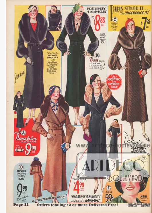 Aktuelle Damenmäntel zu günstigen Preisen bis 10 Dollar. Sehr hohe und reiche Pelzbesätze an Kragen und Unterarm sind trotz Krise wichtig für die modebewusste Frau.