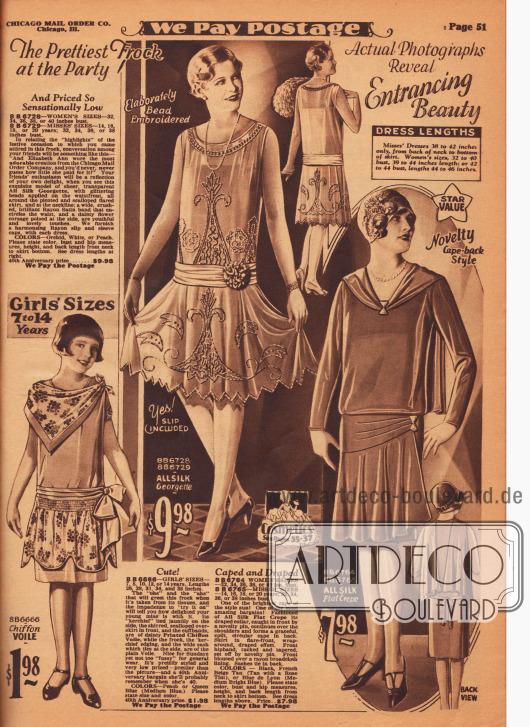 Ein Kleid für 7 bis 14-jährige Mädchen aus Chiffon-Schleierstoff sowie ein Ballkleid aus Seiden-Georgette und ein Nachmittagskleid aus Seiden Krepp. Das Mädchenkleid unten links zeigt ein zum Capekragen gebundenes Halstuch und einen Volant aus gleichem Material, der mit einer Reihenziehung in Hüfthöhe vernäht ist. Das Tanz- und Ballkleid in der Mitte besteht aus einem Unterrock aus Rayon und einem duftigen Überkleid aus transparentem Seiden-Georgette, das mit funkelnden Glasperlen in der Front und am Rock bestickt ist. Das passende Hüftband aus Rayon-Satin ist mit einer Kunstblüte (wohl Rhododendren oder Gardenien) versehen. Das blusig geschnittene Oberteil des nachfolgenden Nachmittagskleides ist mit langen Schalenden, die vom Ausschnitt ausgehen, versehen. Der in Falten fallende Volant des Rockes ist einseitig höher vernäht und mit einer dekorativen Anstecknadel optisch befestigt.