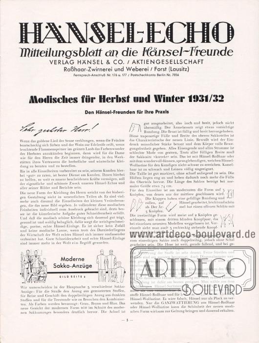 Artikel:Henschke, Bruno (Geschäftsführer), Modisches für Herbst und Winter 1931/32. Den Hänsel-Freunden für ihre Praxis.
