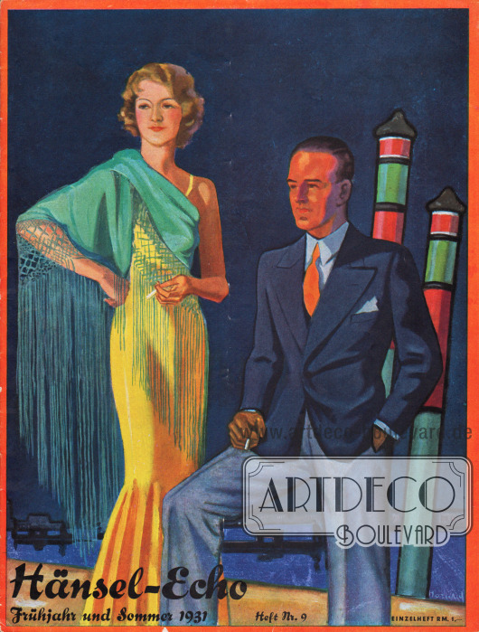 Titelseite der Frühjahr/Sommer Ausgabe des Firmenmagazins Hänsel-Echo Nr. 9 von 1931. Zeichnung: Harald Schwerdtfeger.