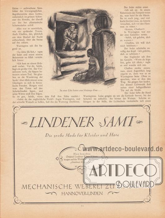 Artikel (Novelle):Friesland, C. R. von, Die flammende Hand.Illustration: Boht.Werbung:Lindener Samt, die große Mode für Kleider und Hüte, mechanische Weberei zu Linden, Hannover-Linden.