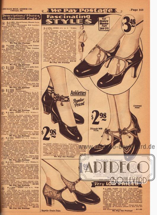 """Günstige, aber schöne Damenschuhe aus Lackleder. Ein Modell mit dem Namen """"Anklettes"""" ist mit Knöchelschnalle versehen und damit recht ungewöhnlich. Zwei der Modelle wurden mit hellerem Chevreauleder (Ziegenleder) und ein weiteres mit reptilienartig genarbtem Leder kombiniert. Ausstanzungen und Perforationen sowie unauffällige Nähte geben jedem Schuh das besondere Etwas. Drei Modell mit niedrigem, dicken kubanischen Absatz und eines mit hohem, schlanken Absatz (engl. """"Spike Heel""""). In der rechten Spalte sind die Beschreibungen der Modelle auf der gegenüberliegenden Farbseite 168 zu finden."""