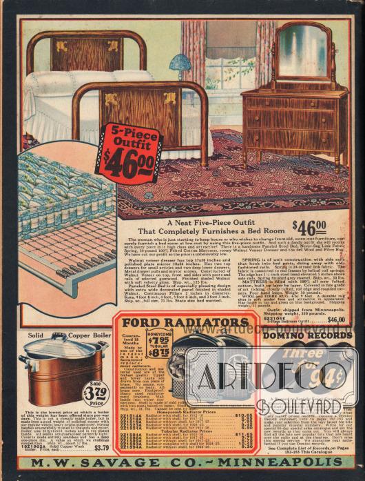 Rückseite des Versandhauskataloges. Eine fünfteilige Schlafzimmergarnitur für 46,- Dollar (bestehend aus einem Stahlrohbett mit Walnussbaum-Holzanstrich, einer Kommode mit Spiegel, einer Matratze, Sprungfedern und einem Teppich aus Wolle), ein Waschkessel zum Waschen von Kochwäsche mit Handgriffen und Deckel für 3,79 Dollar (Maße 22,5 x 12 x 13 Inch; 57,2 x 30,5 x 33,0 cm), zwei Kühlergrills mit Waben- oder Rohrfront für Ford Automobile der Modelljahre 1912 bis 1926 zum Preis von 7,95 bis 11,65 Dollar sowie drei elektrisch aufgenommene Domino Schellack-Schallplatten zum Angebotspreis von 94 Cent (Liste für Schallplatten siehe S. 182-183).