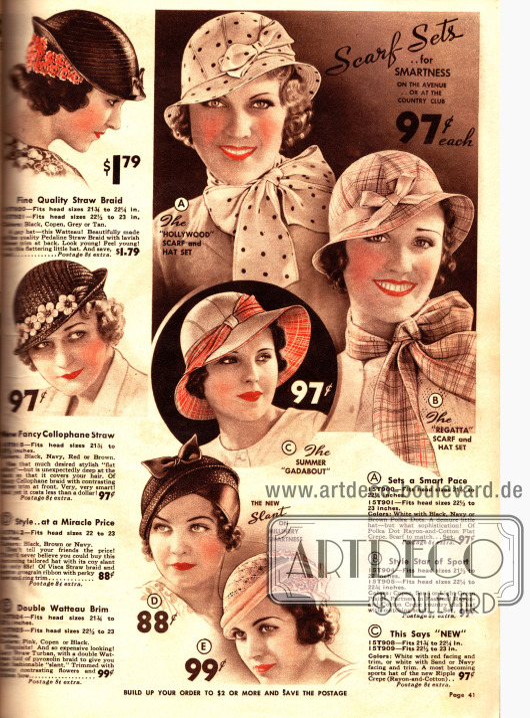 Hüte mit motivgleichen Schals für 97 ¢.