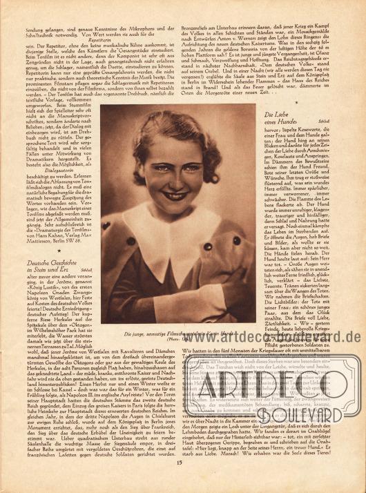 Artikel:O. V., Moderne Frauenberufe. Berufe im Tonfilm&#x3B;Wedekind, Anna P., Deutsche Geschichte in Stein und Erz&#x3B;Weihs-Tihany von Mainprugg, Franz Ritter, Die Liebe eines Hundes.Im Zentrum der Seite befindet sich ein Bild der jungen Filmschauspielerin Karin Hardt (1910-1992).Foto: Ufa.