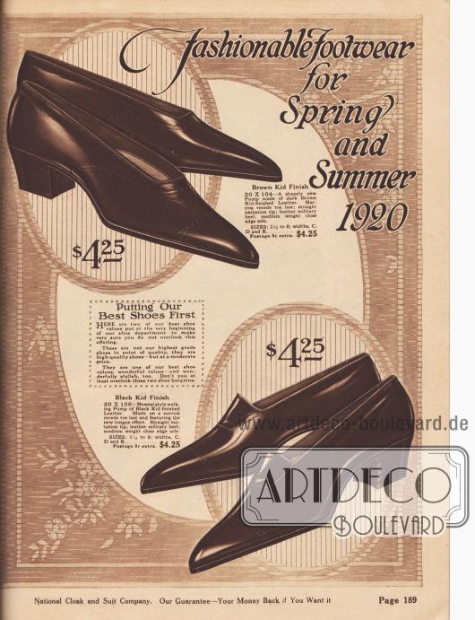 """""""Modische Schuhe für Frühling und Sommer 1920"""" (engl. """"Fashionable Footwear for Spring and Summer 1920""""). Beginn der Abteilung für Damenschuhe mit der Präsentation von zwei eleganten Pumps aus braunem oder schwarzem Chevreauleder (Ziegenleder). Das obere Modell zeigt leichte, überaus zurückhaltende Nahtverzierung, während das untere Schuhpaar den neuen Zungeneffekt zeigt. Die Militärabsätze sind niedrig und breit. Schmale Schuhformen und sehr spitze Schuhkappen sind 1920 modern."""
