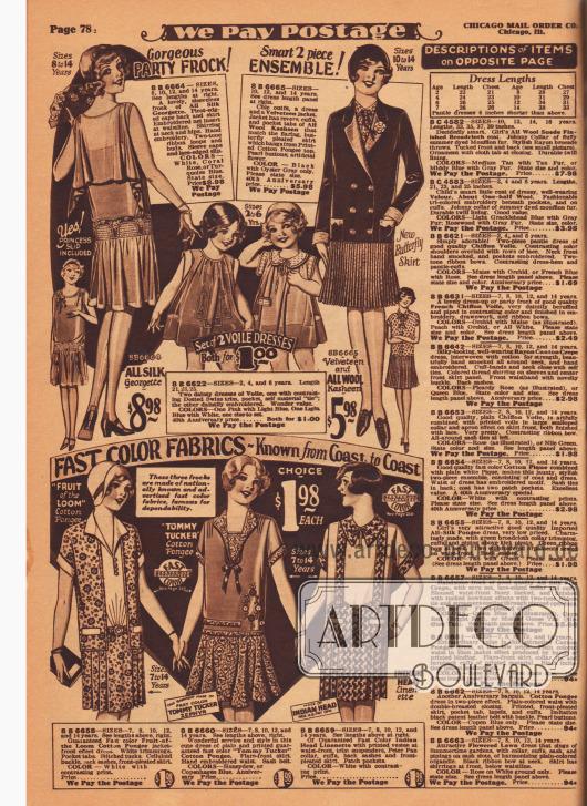 """Kleider für kleine Mädchen im Alter von 2 bis 6 Jahren und für Mädchen von 7 bis 14 Jahren. Oben links ein festliches Partykleid aus Seiden-Georgette für heranwachsende Mädchen. Daneben zwei weit geschnittene """"bloomer dresses"""" aus Schleierstoff für kleine Mädchen. Rechts daneben ein zweiteiliges Ensemble bestehend aus einer Samtjacke und einem Kleid aus Woll-Kasha mit plissiertem Rock. Unten sind Kleider aus Baumwoll-Pongee und Leinen für nur 1,98 Dollar für ältere Mädchen."""