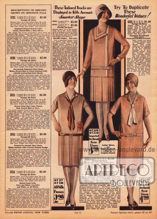 Einfache Kleider und Sportkleider mit Kellerfalten und Plisseeeinsätzen aus Rohseide und sanforisiertem (vorgeschrumpftem) Leinengewebe. Das obere Kleid zeigt weiße Bandgarnitur aus Leinen, weiße Perlknöpfe und einen kecken Kragen. Die beiden unteren Modelle präsentieren krawattenartig drapierte und gebundene Schleifen, kurze Ärmel, Biesen an den Schultern und werden mit einem Ledergürtel oder einem Gürtel aus dem Kleidmaterial getragen. Das linke Kleid unten besitzt zudem eine Tasche mit Emblemstickerei.