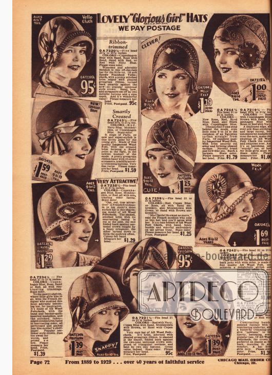 Hüte speziell für Mädchen im Alter von 4 bis 14 Jahren aus Wollfilz und Woll-Veloursleder. Stickereien, Ornamente aus Wollfilz und Ripsbänder sind sehr ähnlich der Hüte für erwachsene Frauen gearbeitet.