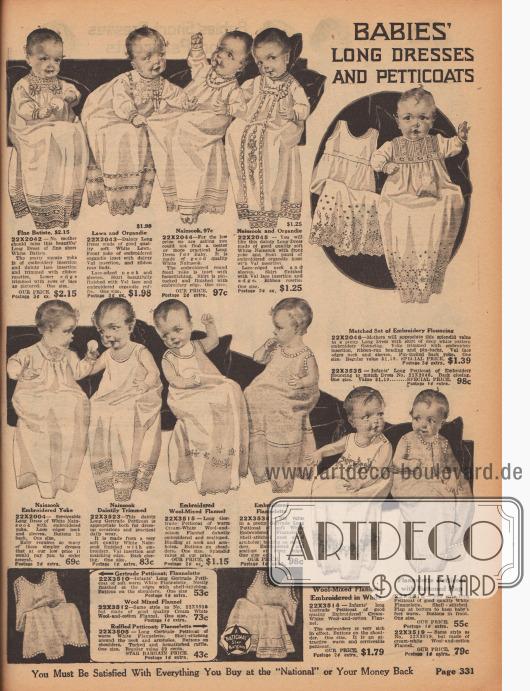 """""""Lange Kleider und Petticoats für Babys"""" (engl. """"Babies' Long Dresses and Petticoats""""). Lange Babykleider aus Batist, Linon, Organdy, Nainsook oder Flanell für Säuglinge im ersten Lebensjahr. Die weißen Kleidchen sind mit Stickereien, Spitzeneinsätzen, Valenciennesspitze, Haarbiesen oder Durchbruchstickerei am Ausschnitt oder am Saum verschönt."""