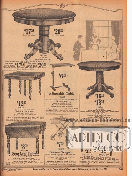 Esszimmer- und Küchentische und höhenverstellbare Tische sowie ein Servierwagen. Zwei runde, ausziehbare Esszimmertische aus glatt polierten Eichenhölzern mit massivem Stand und Querbeinen sowie drei zierlichere Küchentische beispielsweise für das Frühstück aus Eiche oder anderen Harthölzern mit polierten Oberflächen. Die Beine der Küchentische sind gedrechselt. Ein Frühstückstisch ist ausziehbar, ein anderer besitzt runterklappbare Tischflügel. In der Mitte befindet sich ein in der Höhe anpassbarer Tisch aus Stahl und Eisen mit Holzplatte. Darunter ist ein Servierwagen aus bräunlich emailliertem Metall.