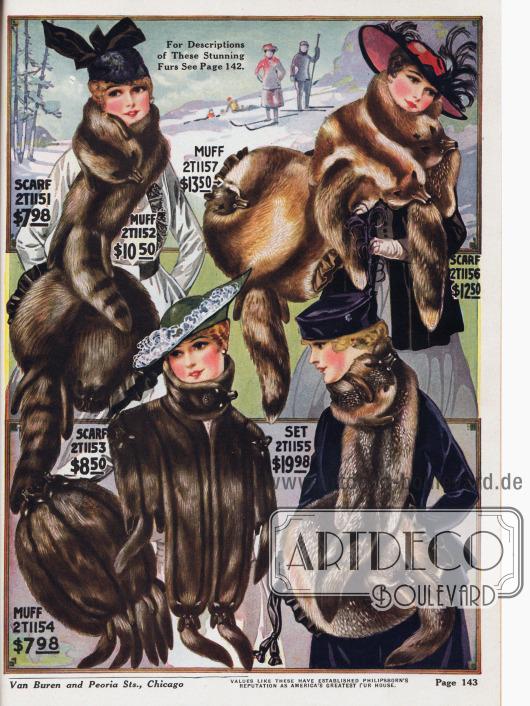 Elegante Pelzschals und Muffe aus Wolfspelz, russischem Murmeltier, grauem Fuchspelz und Rotfuchs. Die Sets kosten bis zu 24,98 Dollar.