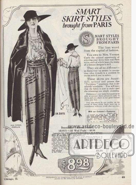 """""""Aus Paris importierte fesche Röcke"""" (engl. """"Smart Skirt Styles brought from Paris""""). Beginn der Abteilung für Damenröcke im Philipsborn Versandhauskatalog. Philipsborn gibt an, dass die ausgewählten und hier offerierten Röcke von der bekannten Gesellschaftstänzerin Irene Castle (1893-1969) einzeln in Paris ausgewählt worden seien. Der präsentierte Rock ist aus Woll-Popeline geschneidert und besitzt vorne eine Knopfleiste zum bequemen Anziehen des Rockes. Drei Reihen schwarzer Tresse werden spiralförmig bis zur Gürtelpasse geführt, die ebenfalls mit Tresse garniert ist. Erhältlich ist der Rock in den Farben Marineblau oder Schwarz."""