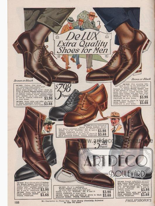 """Elegante Straßenstiefeletten und Halbschuhe für den Herrn aus russischem Leder. Alle Schuhe besitzen einen gummierten Absatz&#x3B; zwei Modelle zudem auch eine Gummisohle. Die Schuhe sind in den Farben Braun, Mahagoni oder """"gunmetal"""" Schwarz erhältlich."""
