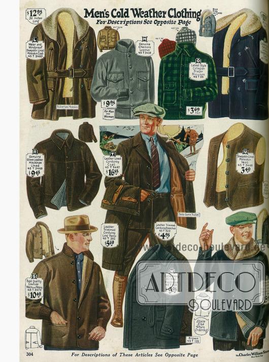 Jacken mit Pelzbesatz (L, Z), blousonartige Lederjacken und Lumberjacks (M, O, S), eine Kordjacke mit Gürtel (P), zwei Lederwesten mit (R) und ohne Ärmel (U), eine Norfolk Jacke aus Kord mit passenden Hosen (T) und eine doppelreihige Mackinaw Jacke aus schwerer Wolle (W).