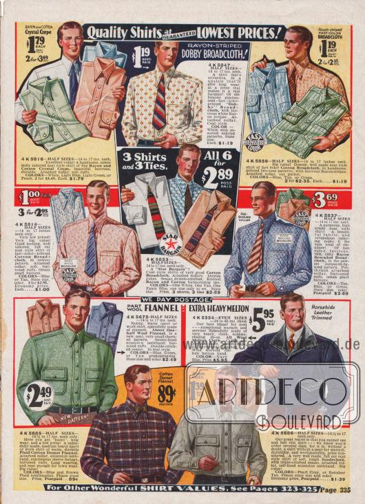 Hemden in verschiedensten Farben und Bedruckungen aus feiner Wolle für Anzüge oder dickem Flanell für schwere Arbeiten in der Natur.