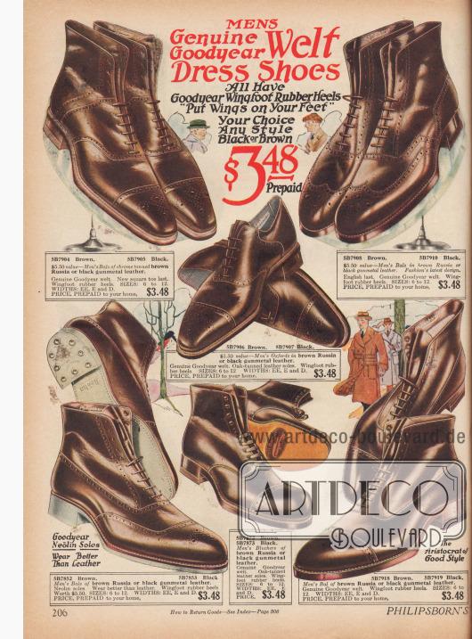 Etwas höherpreisige Herrenschuhe und Stiefeletten als auf Seite 205 für 3,48 $ das Paar.