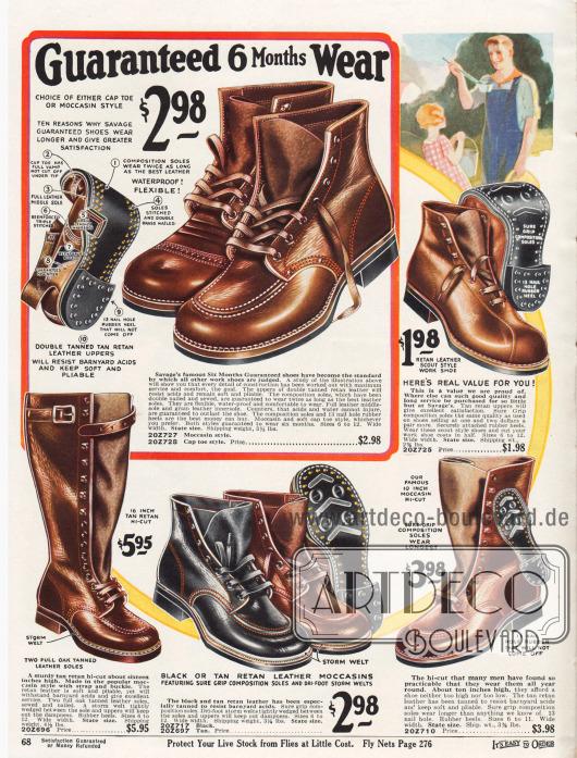 Arbeitsschuhe und hochgeschlossene Arbeitsstiefel mit Riemen mit sechs Monaten Garantie. Die Schuhe sind aus nachgegerbten Ledern und zeigen verstärkte Nähte. Die meisten Modelle besitzen die Mokassin Kappe mit rundgeführter Naht an der Schuhspitze.