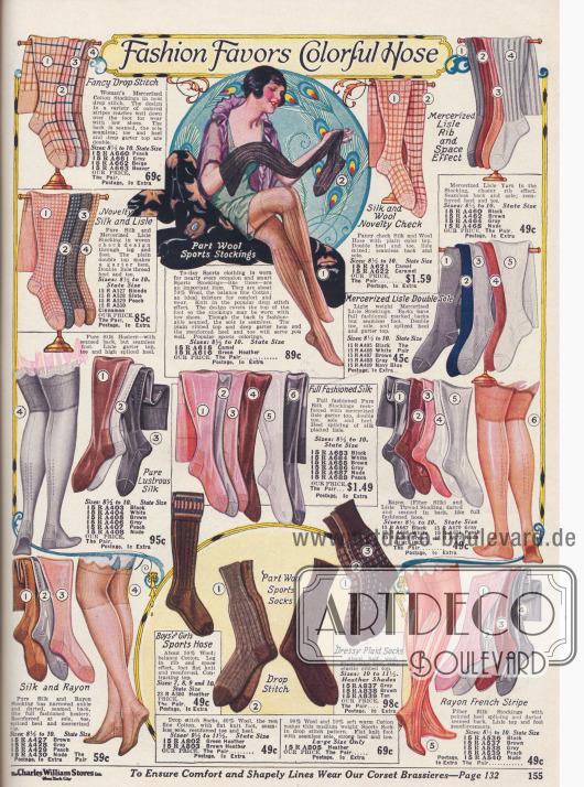 Rayon und Seidenstrümpfe für Frauen in den aktuellen Farben der Saison.