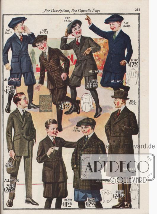 """Sechs Schul- und Straßenanzüge, eine Mackinaw-Jacke, ein doppelreihiger Wintermantel sowie zu allen Anzügen passende Mützen und Hüte für 7 bis 18-jährige Jungen. Die ein- und zweireihigen Schulanzüge und Norfolk-Anzüge sind aus gekämmtem Woll-Serge, Samt-Kord, Cheviot-Wolle oder gekämmter Cheviot-Wolle. Unter den Modellen befindet sich ein """"Crompton"""" All-Wetter Anzug (9K778), geeignet für Wind und Wetter und auch ein doppelreihiger High-School Anzug mit langen Hosenbeinen (9K785 / 9K786). Das Sakko des High-School Anzuges besitzt Taschen und zwei kleinere Taschen für Wechselgeld. Passende Mützen zu den Anzügen aus analogen Stoffen zeigen fast alle Modelle. Unten rechts eine doppelreihige Mackinaw Jacke aus schwerem, grobkariertem Woll-Mantelstoff (9K791) sowie ein Wintermantel aus Cheviot-Wolle (9K795 / 9K796) für 15 bis 20-jährige junge Männer. Kragen, Kanten, Gürtel und aufgesetzte Taschen sind bei beiden Modellen abgesteppt."""