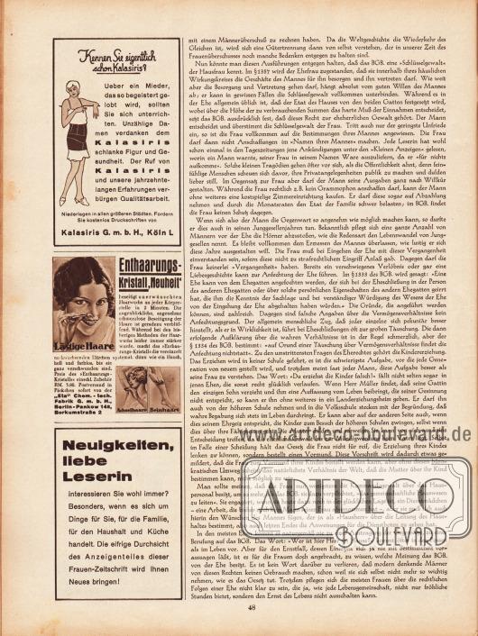 """Artikel:Maibauer, Dr. Fritz, Die Frauen und das Bürgerliche Gesetzbuch.Werbung:Kalasiris Mieder, Kalasiris GmbH, Köln L&#x3B;Enthaarungskristall, """"Eta"""" Chem.-tech. Fabrik GmbH, Berlin-Pankow 148, Borkumstraße 2&#x3B;Eigenwerbung des Verlages um die Leserinnen zur Durchsicht des Anzeigenteiles zu animieren."""