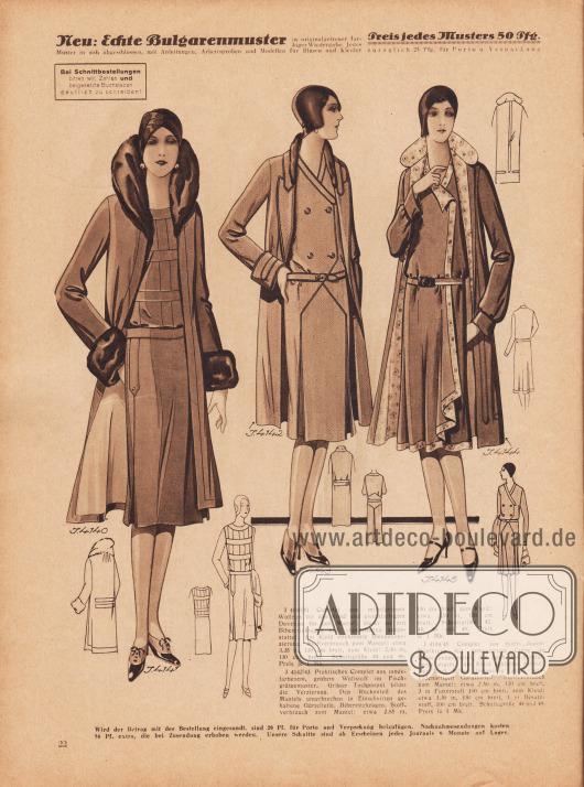 4140/41: Complet aus mittelgrünem Wollrips für das Kleid und gleichfarbigem Duvetine für den Mantel; dieser ist mit Biberettekragen und -manschetten ausgestattet. Am Kleid effektvolle Blendenverzierung. 4142/43: Praktisches Complet aus modefarbenem, grobem Wollstoff im Fischgrätenmuster. Grüner Tuchpaspel bildet die Verzierung. Den Rückenteil des Mantels unterbrechen in Einschnitten gehaltene Gürtelteile. Biberettekragen. 4144/45: Complet aus marineblauem Wollkrepp mit gemustertem Crêpe de Chine ausgestattet, der auch das Mantelfutter ergibt. Am Kleid schlanke Ärmel. Der Rock bildet linksseitig einen kaskadenartigen Garniturteil.