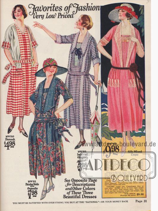 Günstige Kleider aus Damast, Schleierstoff mit Paisley Musterung und Organdy, Gingham und Seiden Krepp.