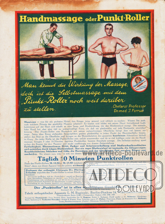 Werbung:Punkt-Roller, Fabrik orthopädischer Apparate L. M. Baginski, Berlin-Pankow 14, Hiddenseestraße 10.
