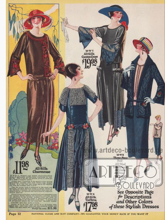 Drei Kleider aus Seiden-Charmeuse, Seiden-Taft und Seiden Krepp werden präsentiert sowie ein Kostüm aus Woll-Serge dessen Jacke lose gegürtet getragen wird.Das braune Kleid im geradlinigen Schnitt weist ausgiebige Stickereien an Ärmeln, Brust und Ausschnitt auf.Das folgende blaue Kleid ist eines der populären Stilkleider, während der Rock des letzten Kleides seine Weite durch zusätzliche Seitenpaneele erhält. Die weiten Ärmel des letzten Kleides sind besonders modisch und mit Perlen bestickt.
