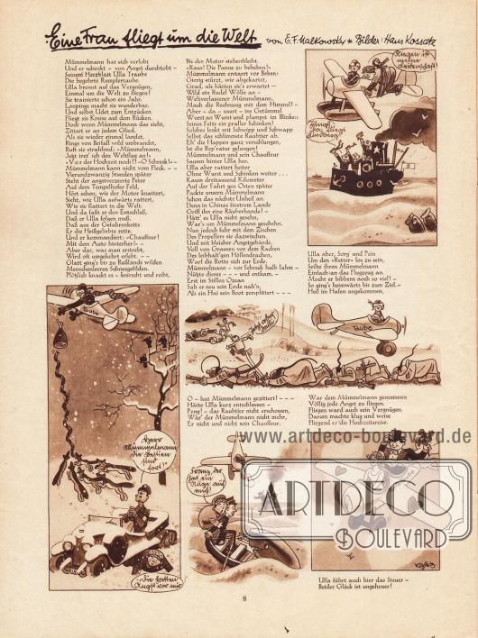 Artikel (Reim): Malkowsky, E. F., Eine Frau fliegt um die Welt. Illustrator: Hans Kossatz (1901-1985).