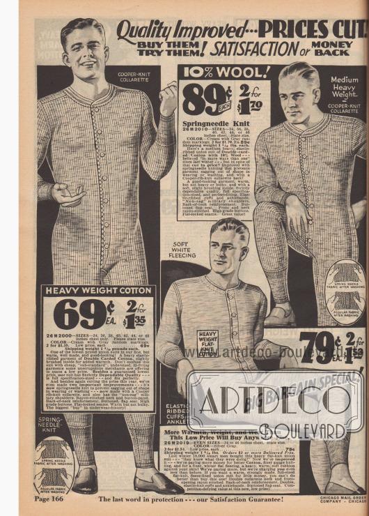 Einteilige lange Hemdhosen für Männer. Für gewöhnlich wurde keine weitere Unterwäsche unter diesem Unterwäschestück getragen.