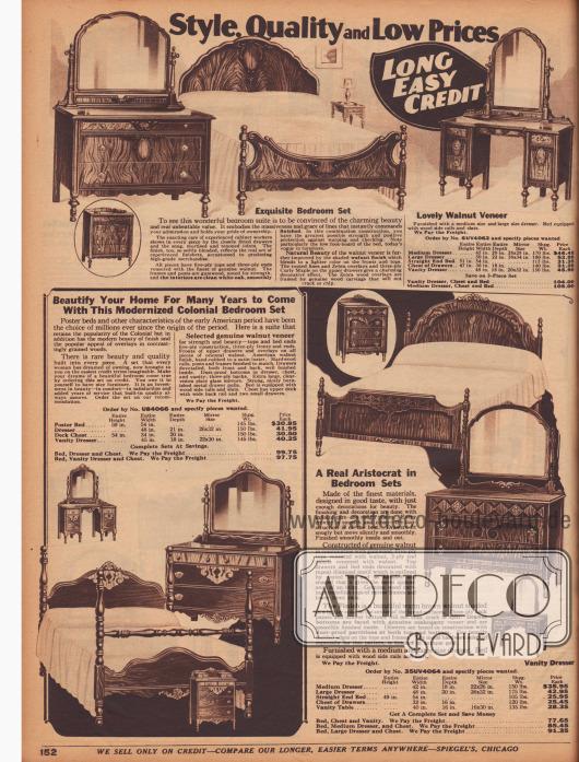 Schlafzimmermöbel im amerikanischen Kolonialstil. Die drei Einrichtungen bestehen aus dem Doppelbett, großen oder kleinen Kleiderschränken, Kommoden mit Schubfächern – teilweise mit Spiegelaufsatz – und einem Frisier- und Schminktisch und können nach Geschmack zusammengestellt werden. Sämtliche Möbel sind aus amerikanischem Walnussholz, Eukalyptusholz oder Eiche gefertigt. Gedrechselte Füße, zurückhaltende Ornamentik oder verschiedenfarbiges Furnier geben den Möbeln ein vornehmes Aussehen.