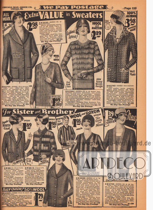 Aus Wolle, Wolle und Rayon sowie aus Wolle und Baumwollgarnen gestrickte Strickjacken (Cardigans), Pullover (Jumper) und Blazer (leichte Sportjacken) für Damen, junge Frauen und Mädchen von 2 bis 14 Jahren.