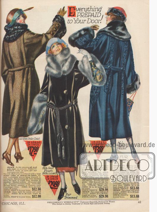 Doppelseite mit günstigen Wintermänteln und Umhängen. Kaninchen-, Robben-, Büffel- und Karakulpelz (Schafspelz) wurden für diese Mäntel verarbeitet. Die eigentlichen Mäntel sind aus reiner Wolle, Woll-Velours und Plüschstoff gefertigt. Die Mäntel werden mit einem lose befestigten Gürtel getragen.
