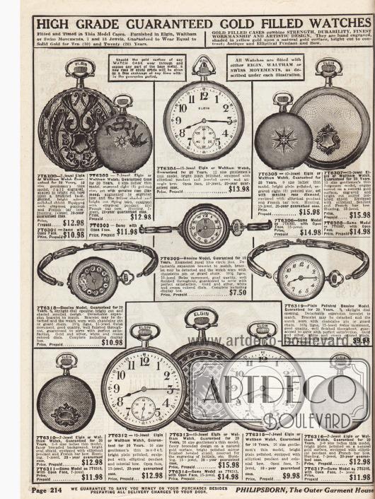 Vergoldete Armband- und Taschenuhren für Männer und Frauen mit unterschiedlichen Ziffernblättern und rückseitigen Verzierungen zum aufziehen. Einzelne Uhren besitzen auch Sekundenzeiger. Die Preise rangieren zwischen 7,50 und 15,98 Dollar. Einzelne Uhren sind von der Marke Elgin.