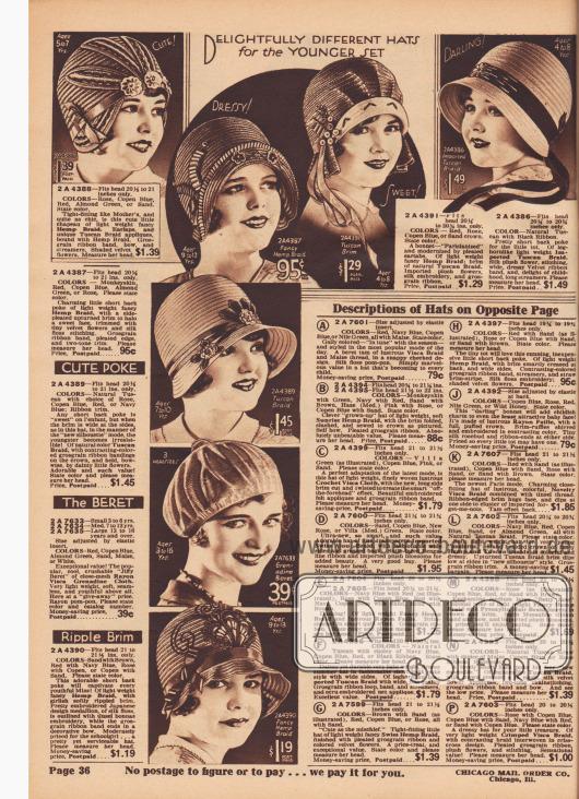 """""""Entzückend andersartige Hüte für die jüngere Generation"""" (engl. """"Delightfully Different Hats for the Younger Set""""). Sieben Frühlingshüte aus Hanf, importiertem Tuscan-Stroh oder Rayon-Visca-Gewebe für 3 bis 13-jährige Mädchen. Unter den Modellen befinden sich Hauben, schutenartige Hüte und eine Baskenmütze bzw. Barett (""""Jiffy Beret""""). Stroh-Applikationen, Ripsbänder, Schleifen, Bänder, Blüten aus schattiertem Samt, importierte Plüsch-Blumen, Seiden-Stickerei, Samtbänder, Rayon-Pompons, Stickerei-Motive im japanischen Stil oder Flitter dienen der Verschönerung der Modelle."""