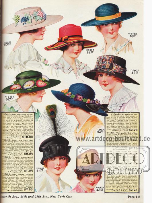 Breitkrempige Hüte mit Blüten-, Feder– und Bändern– und Schleifenverzierungen. Darunter auch ein exklusiver Hut mit Weintraubenaufputz für stolze 10 $ (oben links).