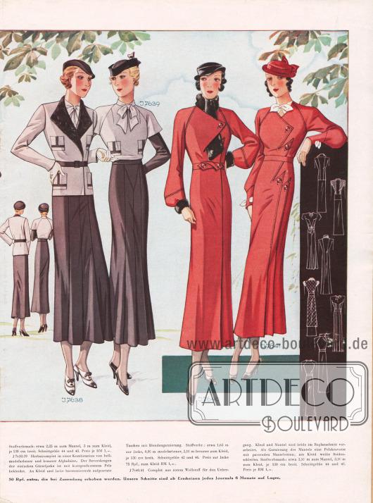 7638/39: Herbstkomplet in einer Kombination von hellmodefarbener und brauner Afghalaine. Der Reverskragen der einfachen Gürteljacke ist mit kurzgeschorenem Pelz bekleidet. An Kleid und Jacke harmonierende aufgesetzte Taschen mit Blendengarnierung. 7640/41: Complet aus rotem Wollstoff für den Übergang. Kleid und Mantel sind beide im Raglanschnitt verarbeitet. Als Garnierung des Mantels eine Pelzkrawatte mit passenden Manschetten; am Kleid weiße Seidenschleifen.