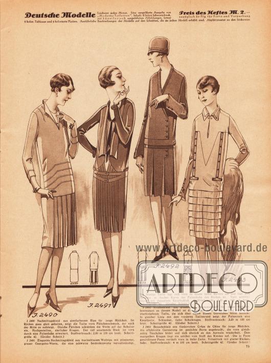 2490: Nachmittagskleid aus zimtfarbenem Rips für junge Mädchen. Im Rücken ganz glatt gehalten, zeigt die Taille vorn Fältchenschmuck, der nach der Mitte zu aufsteigt. Gleiche Fältchen schränken die Weite auf der Schulter ein. Hochgestellter, zierlicher Kragen. Der tief ansetzende Rock ist vorn durch eine Faltenbahn erweitert. 2491: Elegantes Nachmittagskleid aus marineblauem Wollrips mit plissierter, grauer Georgette-Weste, die eine schwarze Seidenkrawatte vervollständigt. Die blusige Taille legt sich vorn zu einem tiefen Revers um und fügt sich darunter in flacher Kurve der Faltenbahn des Rockes an. Vorn geteilter Gürtel mit doppeltem Knopfschluß. 2492: Straßenkleid aus graublauem Pepitawollstoff für junge Mädchen. Interessant an diesem Modell ist die einseitig verarbeitete, schräg nach links überknöpfende Taille, die sich über einem blauen Gürtelchen leicht bauscht. In gleicher Linie mit dem vorderen Taillenrand zeigt der Faltenrock eine Knopfpatte. Schlanker, tiefer Schalkragen. 2493: Besuchskleid aus fliederrotem Crêpe de Chine für junge Mädchen. Als effektvolle Garnierung ist gestickte Borte angebracht, die vorn gleichzeitig Täschchen bildet und sich ähnlich an den Ärmeln wiederholt. Dem mattgelben Kragen liegt ein solcher vom Stoff des Kleides auf. Die in Form geschnittene Passe verläuft vorn in tiefer Zacke. Volantrock mit glatter Rückenbahn.