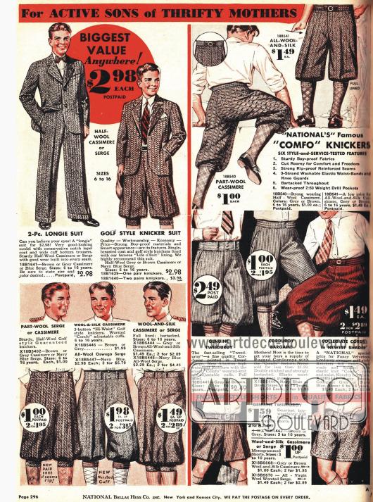 Kurze und lange Hosen für Jungen von 6 bis 16 Jahren.