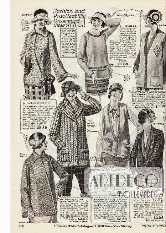 Doppelseite mit sportlichen Strickjacken, Kasacks und warmen Jäckchen und Schals für Frauen und Mädchen aus groben und gekämmten Wollgarnen und dicht gewebten Seidenstoffen.